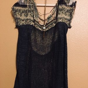 Free People crochet olive green top